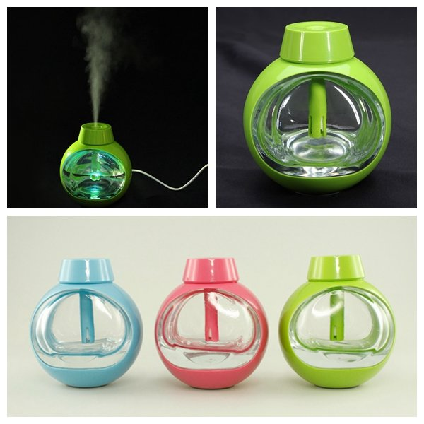 USB Transparent Crystal Glass Mini Ultrasonic Air Humidifier Purifier Vibration Switch Diffuser Portable