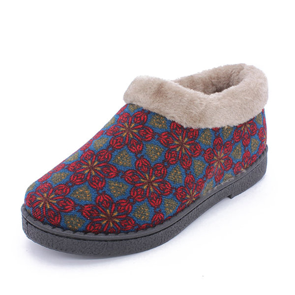 Flower Pattern Colorful Warm Lining Slip On Snow Boots For Women