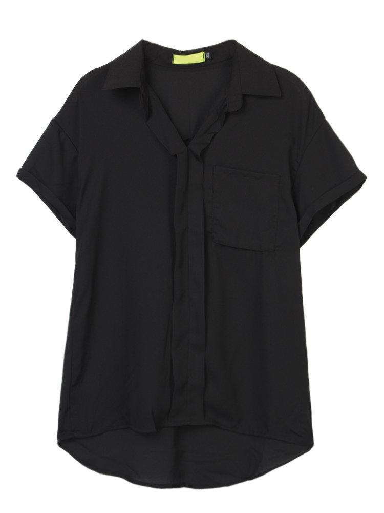 Повседневная Женщины Твердые Карманный Высокая Низкая Работа шифоновую блузку