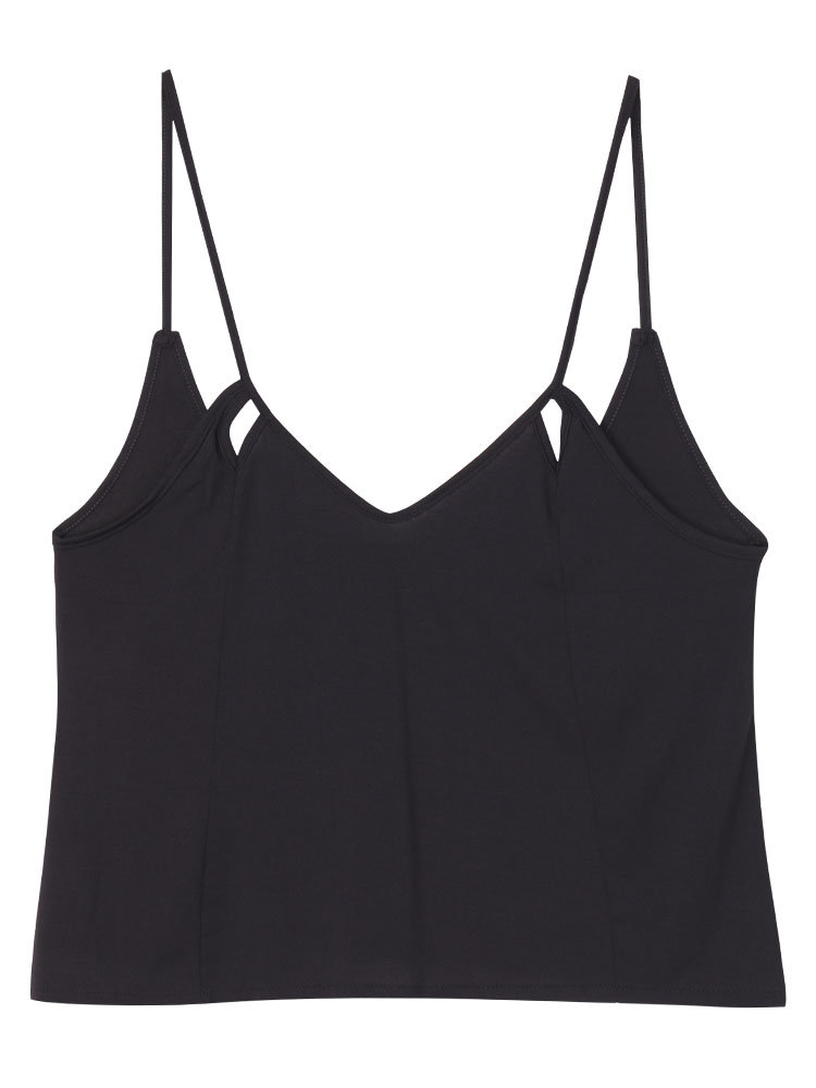 Women Hollow Out Backless V-neck Pure Color Tank Tops