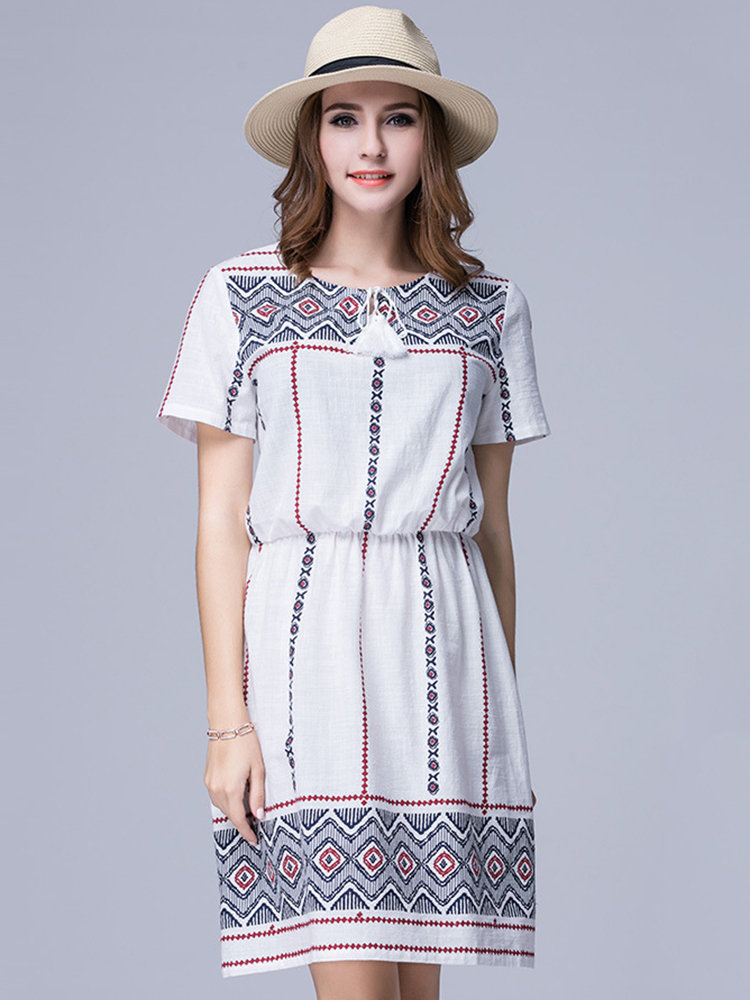 Casual Geometric Pattern Printed Elastic Waist A-line Dress For Women