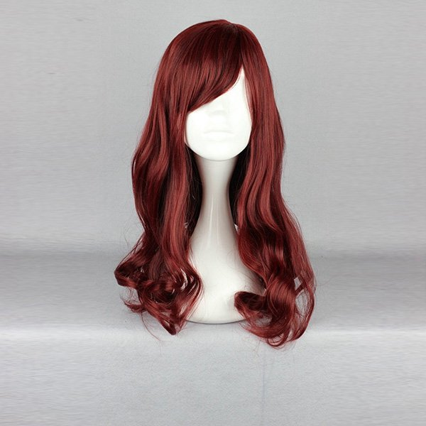 50cm Red Side Bang Wavy Long Harajuku High Temperature Heat Friendly Synthetic Costume Cosplay Wig