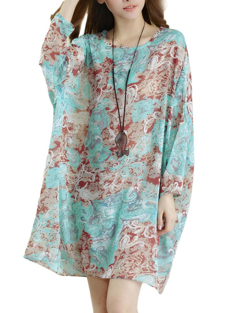 Elegant Women Butterfly Printed Bohemian Batwing Sleeve Chiffon Long T-shirt