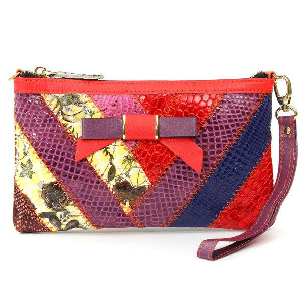Женщины из натуральной кожи вскользь Vintage кошелек ретро Красочный телефон карты Cash сумки кошелек