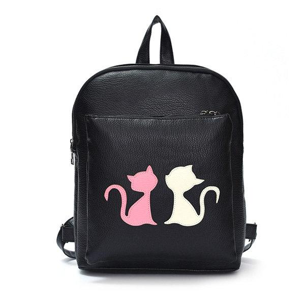 Stylish Cat Pattern PU Leather Backpack
