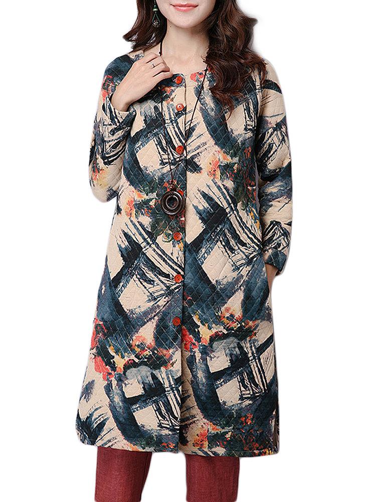 Толстые ретро печати Сыпучие Длинные Женщины пальто
