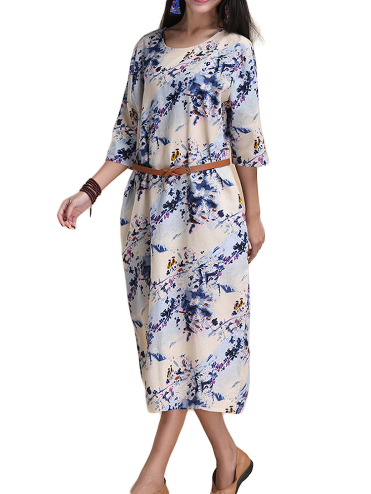 Women Floral Printed Linen Bodycon Dress With Belt