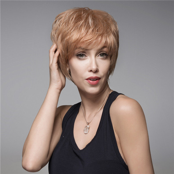 Short Capless Human Hair Wig Remy Virgin Mono Top Side Bang 14 Colors