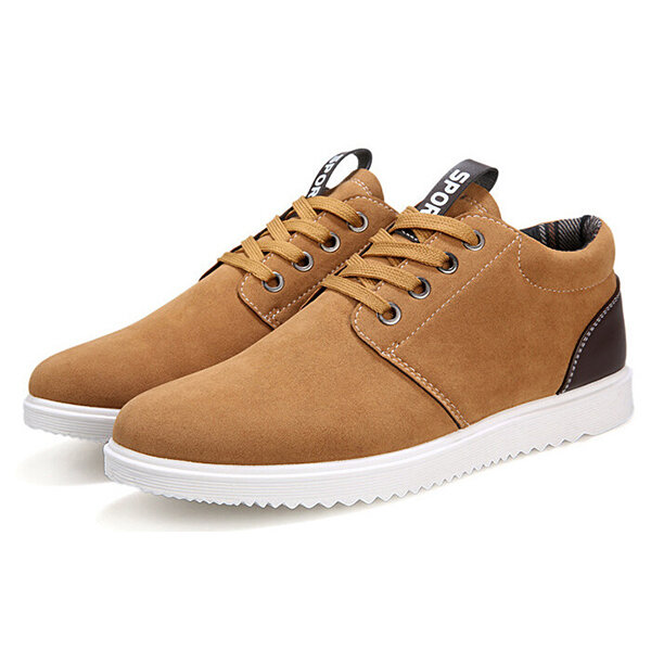 Men Suede Color Match British Style Lace Up Flat Sport Casual Shoes