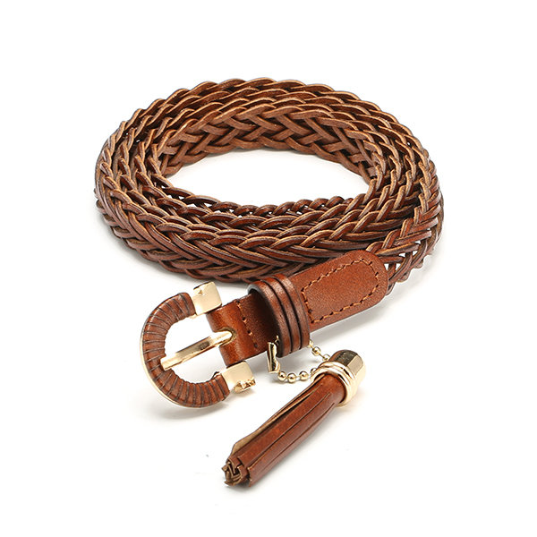 Women PU Leather Weaved Belt Tassel Skinny Narrow Pin Buckles Waistband