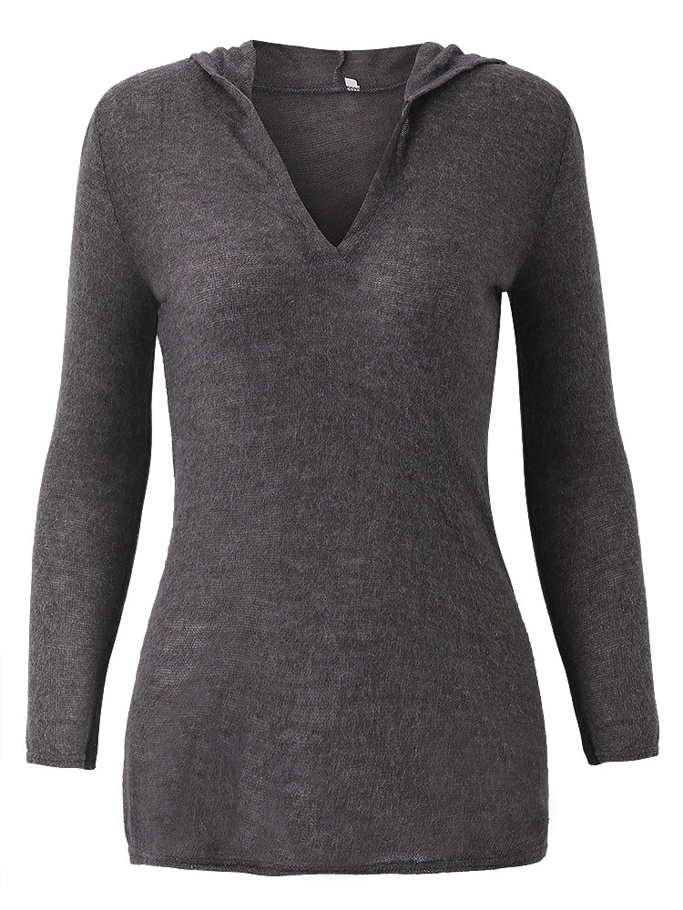 Women Long Sleeve V Neck Pure Color Hooded Knit Shirts