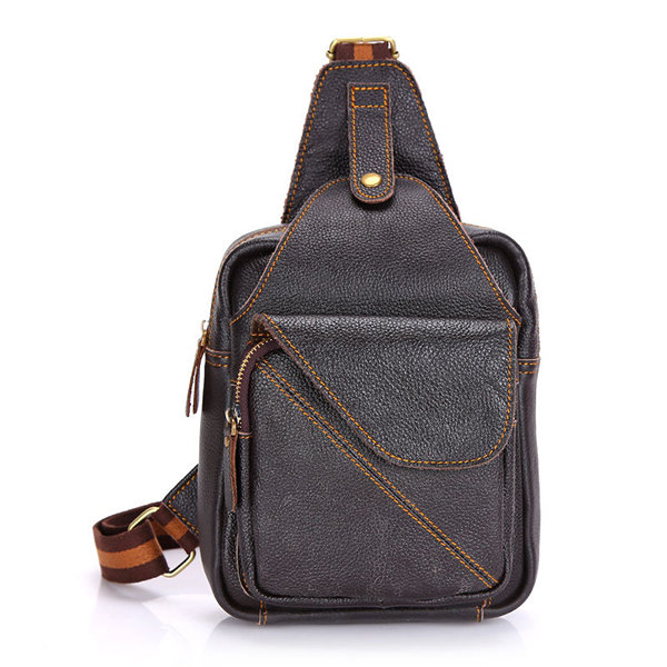 Genuine Leather Men Casual Crossbody Bag Cowhide Outdoor Chest Bag