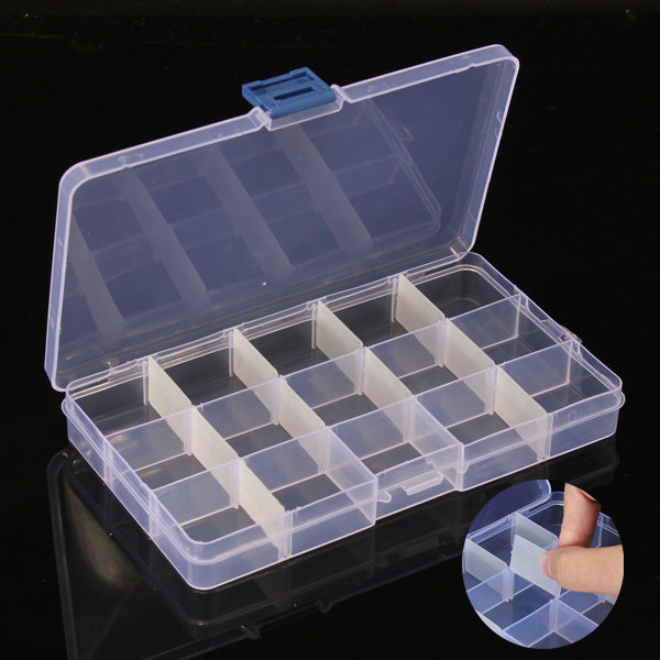 10Pcs 15 Cells Compartment Plastic Storage Box Adjustable Detachable For Nail Tip Gems Little Stuff