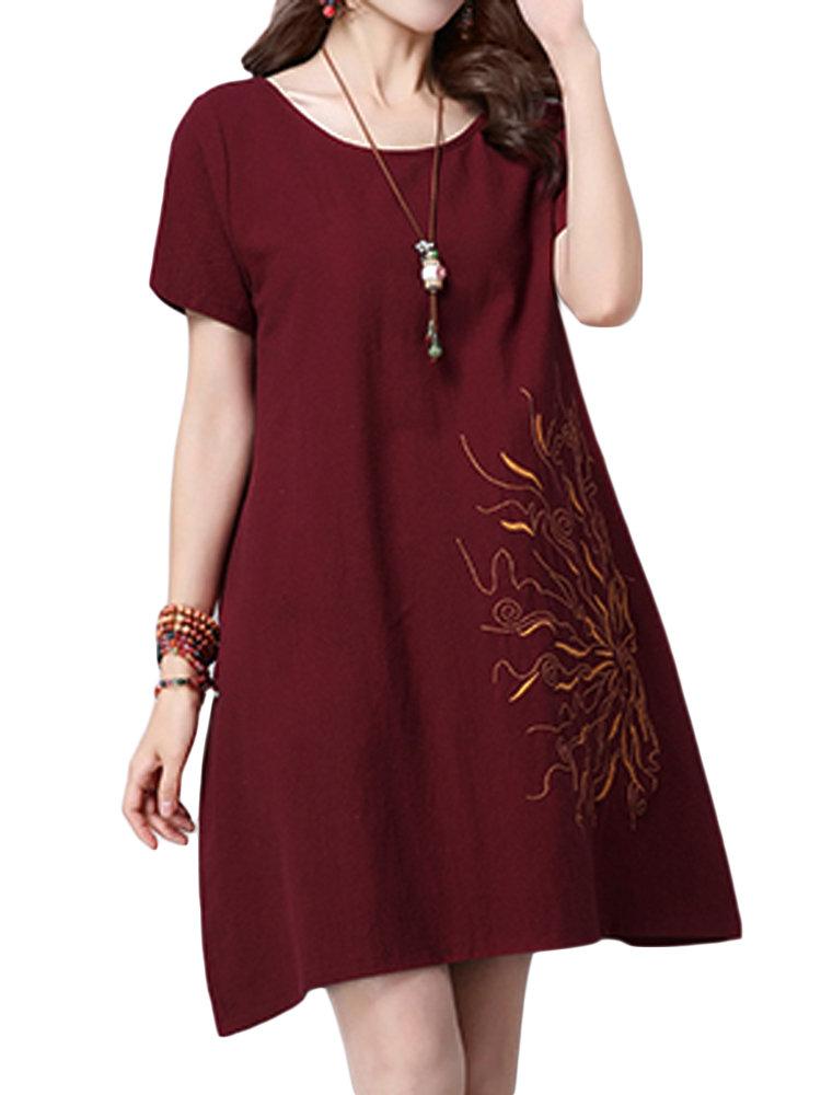 Женщины Вышивка O-образным вырезом Хлопок белье A-Line платье