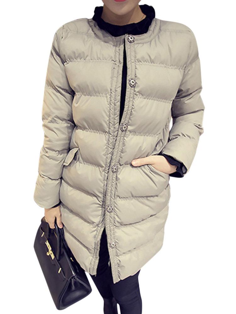 Повседневная Женщины с длинным рукавом O-образным вырезом зима хлопка вниз пальто