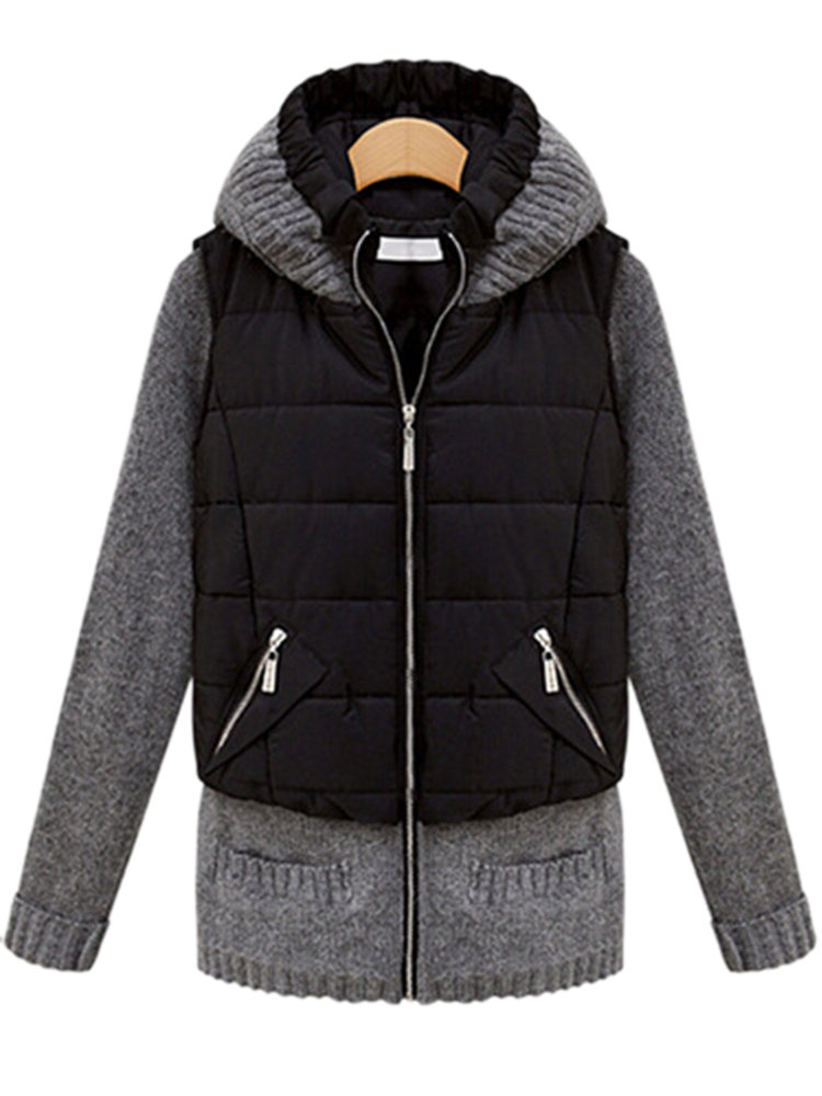 Casual Slim Knit Patchwork Long Sleeve Hood Coat