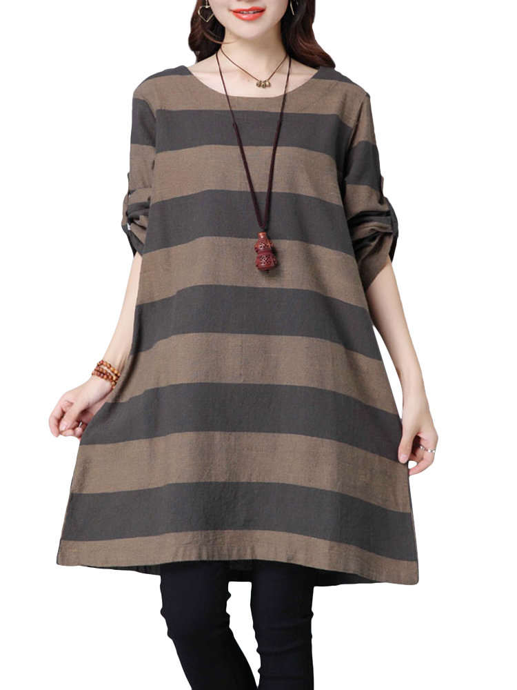 Stripe Long Sleeve O Neck Casual Cotton Dress For Women