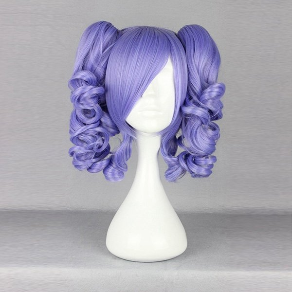 Harajuku Purple Bunches Wavy Synthetic Costume Cosplay Wig High Temperature Heat Friendly