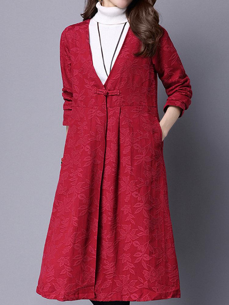 Women Vintage Jacquard Long Sleeve V-Neck Cardigan Coat