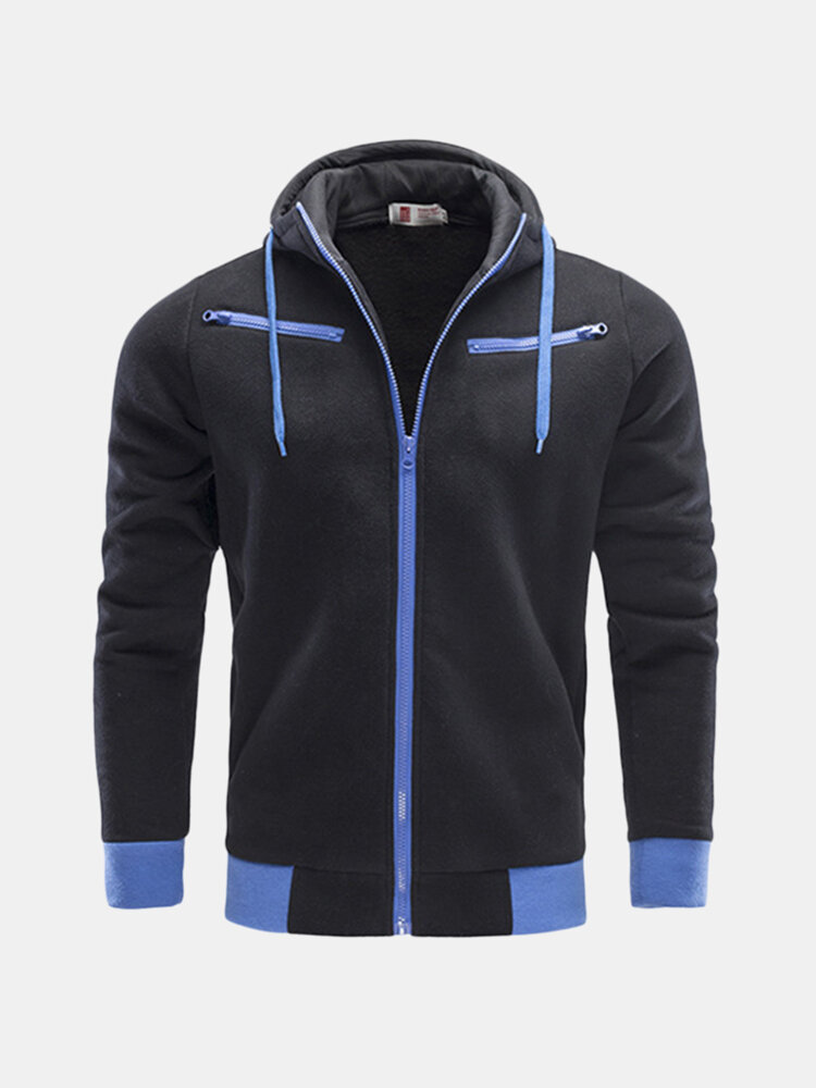 Mens Hoodies Solid Color Zipper Front Pocket Fashion Casual Sport Hooded Tops