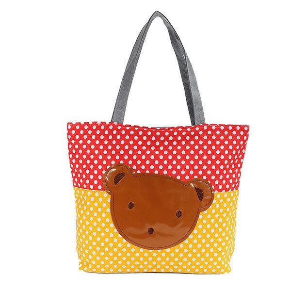 Cute Bear Pattern Women Canvas Handbag