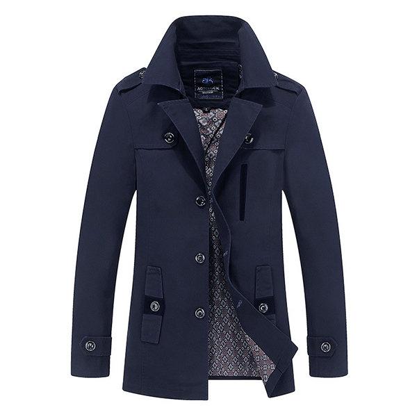 Бизнес Повседневный пальто шанца моющийся хлопка эполеты костюм воротник куртки для мужчин