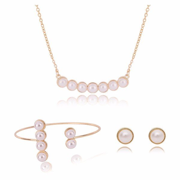 Alloy Pearl Jewelry Necklaces Earrings Three-Piece Suit for Women
