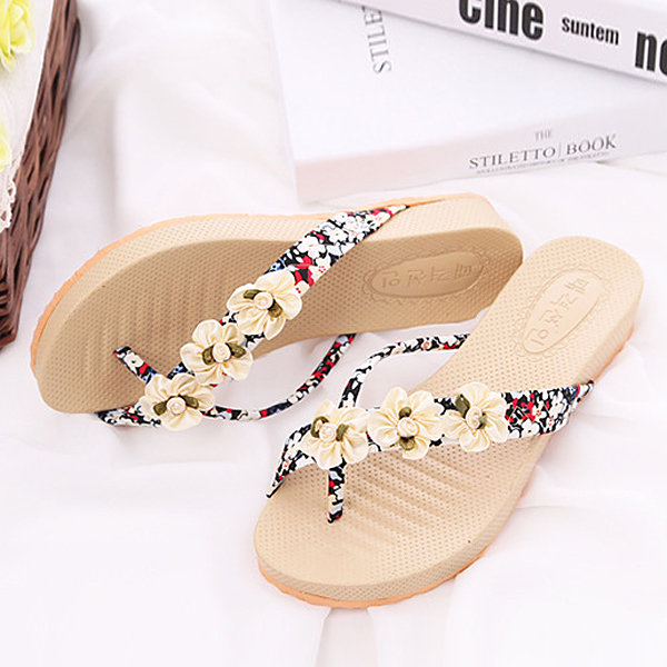 Flower Colorful Clip Toe Platform Outdoor Beach Flip Flops Slippers