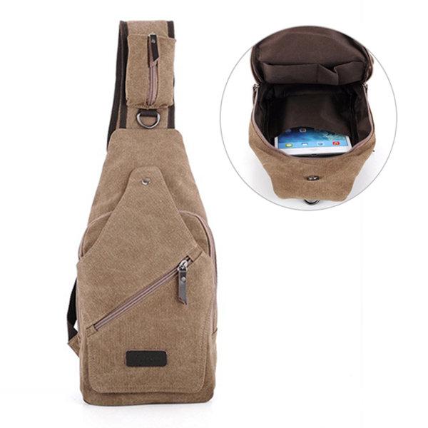 Мужчины Обложка Холст Грудь сумка Повседневная Прочный Молния Одноместный сумки на ремне