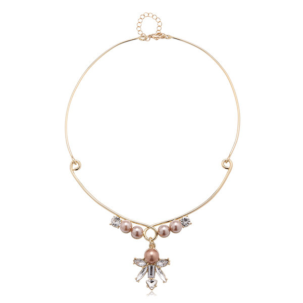 Balancing Style Alloy Rhinestone Butterfly Crystal Pearl Collar Necklace