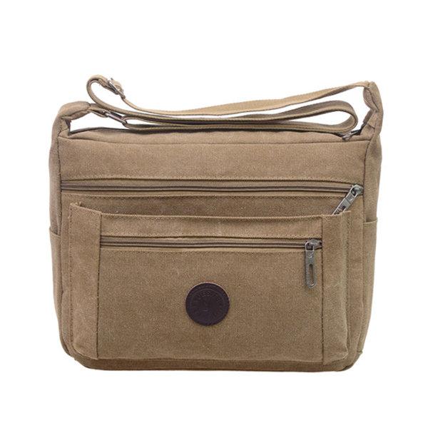 Multi Pocket Big Capacity Crossbody Bag Casual Canvas Shoulder Bag For Man
