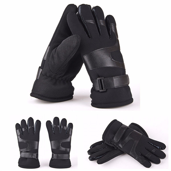 Mens Leather Gloves Winter Plus Thick Velvet Warm Driving Gloves Mittens