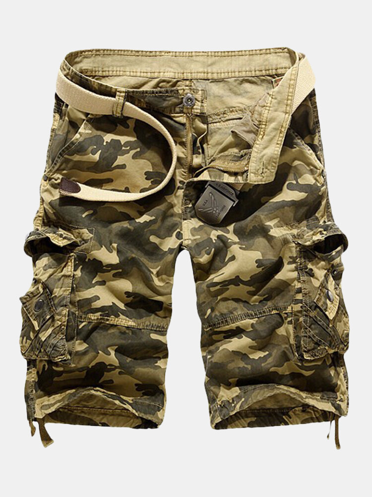 Men's Summer Casual Loose Fit Camo Multi-pockets Cargo Short Pants