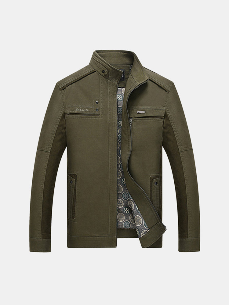 Autumn Winter Casual Business Cotton Outwear Stand Collar Jacket For Men