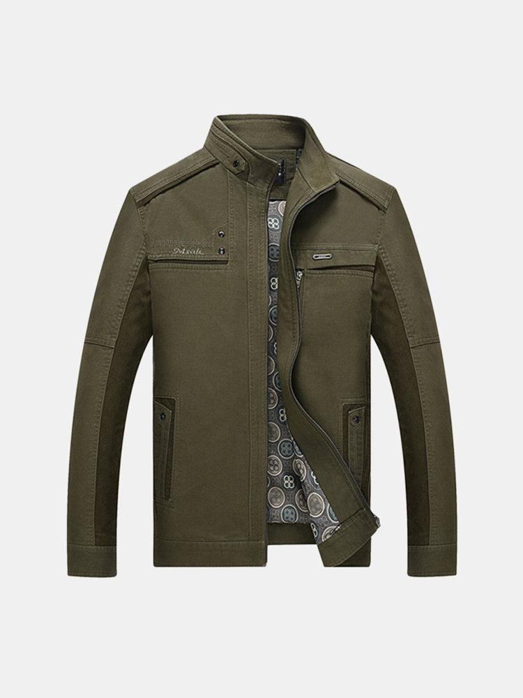 Осень Зима Повседневная Бизнес Хлопок Outwear Стенд воротник куртки для мужчин