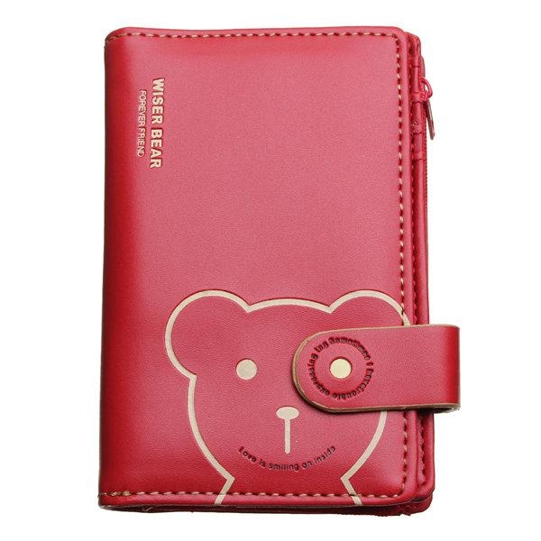 Women Medium PU Leather Bear Wallet