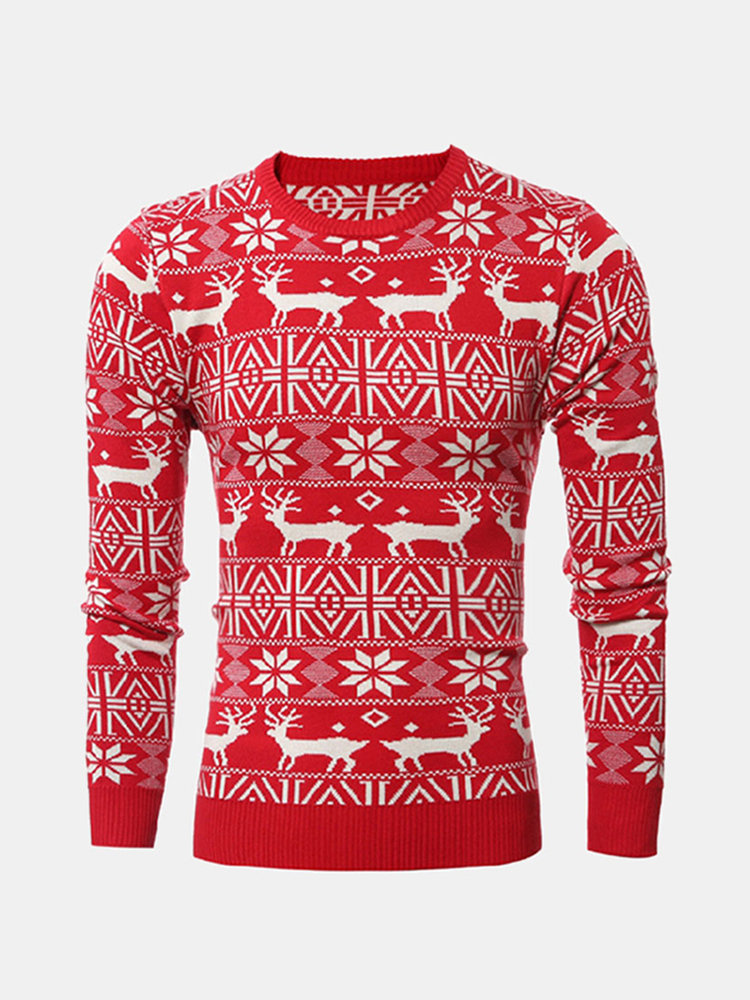 Mens Fall Winter Pullover Deer Snowflake Knitted Pattern O-Neck Slim Fit Casual Sweater