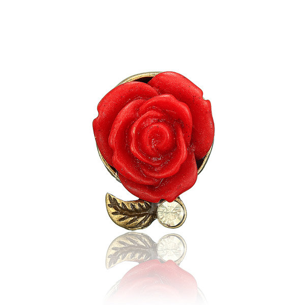 Crystal Rose Flowers Adjustable Ring