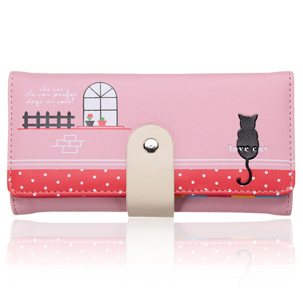 Women Long Pattern Cat Printing PU Leather Wallet
