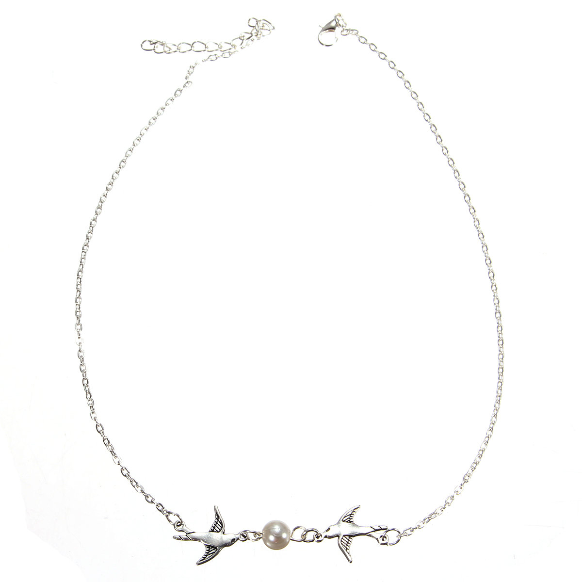 Silver Pearl Bird Pendant Clavicle Necklace