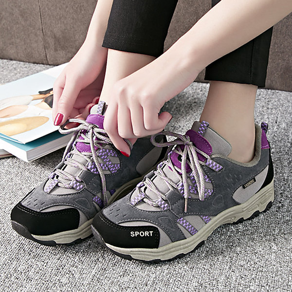 Suede Mesh Breathable Color Match Lace Up Flat Casual Sport Shoes