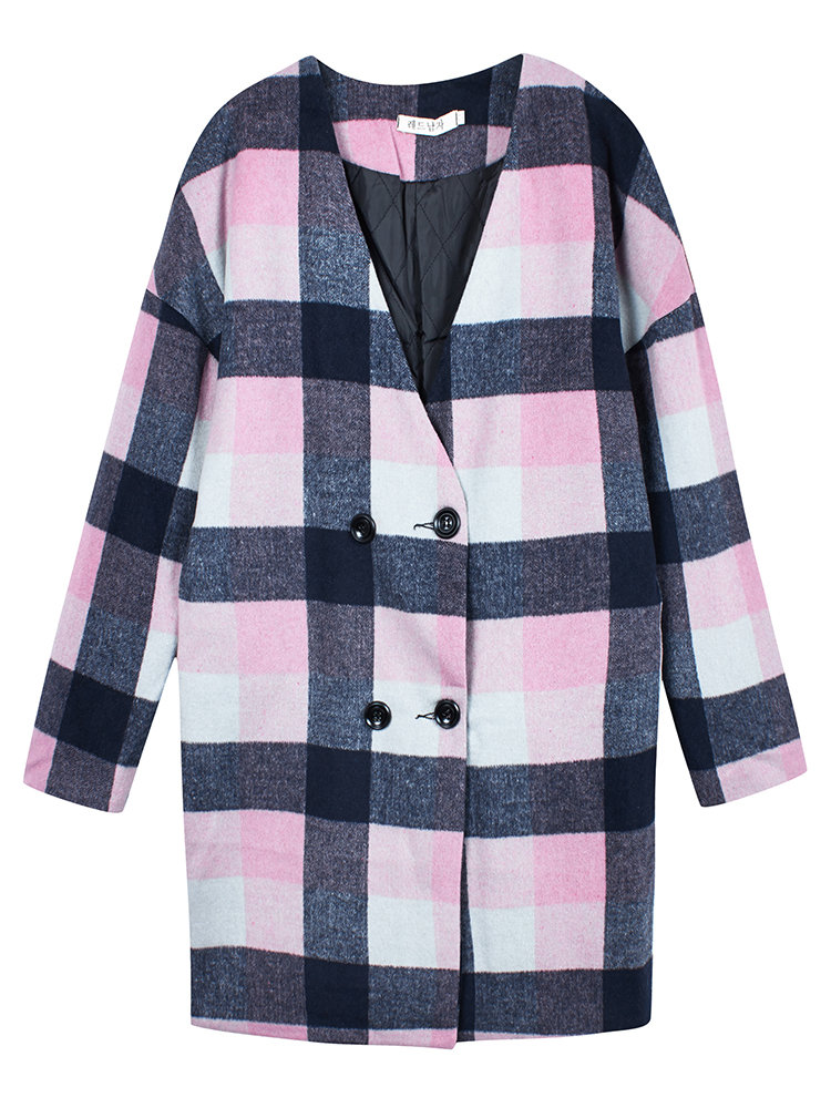 Women Loose Long Sleeve Plaid Double Breasted V-neck Woolen Coat