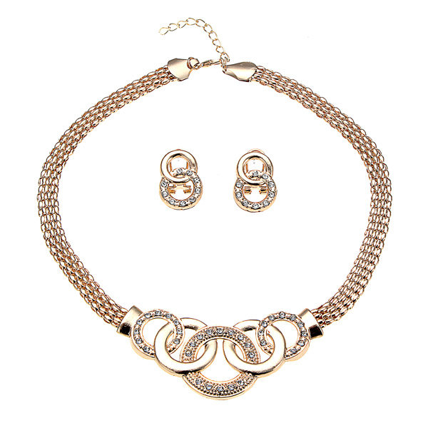 Gold Collar Necklace Earrings Bracelet Ring Jewelry Set