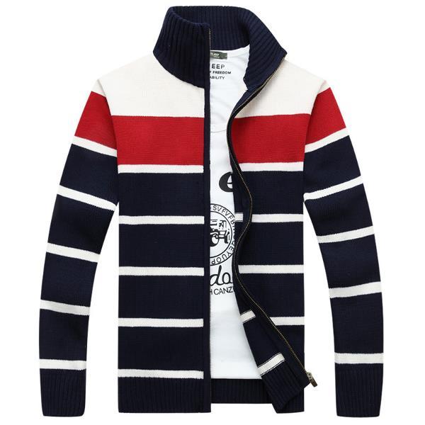 Повседневный нашивки вышивка вязаный свитер воротник стойка с длинным рукавом пальто для мужчин