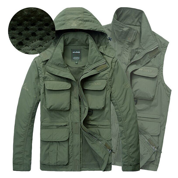 Outdoor Waterproof Thin Inside Mesh Quickly Dry Multi Pockets Multi Functions Jacket for Men