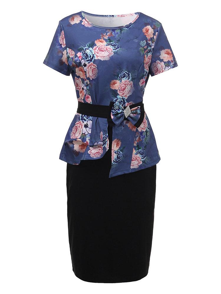 Элегантные женщины Цветочные Печатный двух частей карандаша платье с поясом