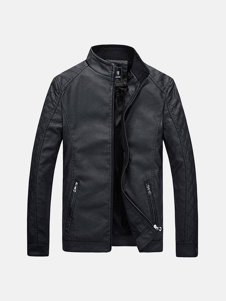 Motorcycle Style Inside Thicken Fleece PU Leather Jacket Casual Slim Stand Collar Coat For Men