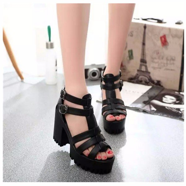 PU Leather Double Buckle Open Toe Strap Cover Heel Platform Sandals
