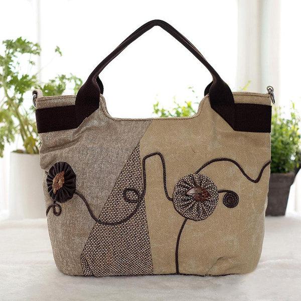 Женщины Китайский стиль сумка Классический сумка Холст хозяйственная сумка