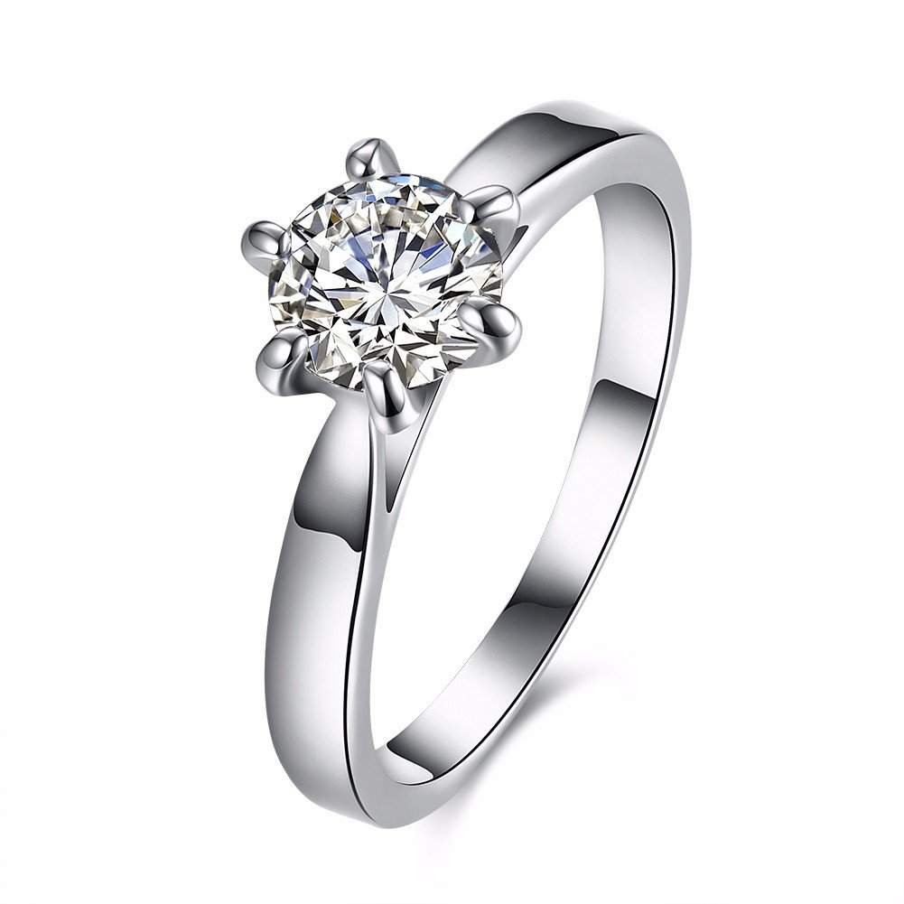 Wedding Jewelry Ring Silver Platinum Six Claw Zircon Ring for Women Gift